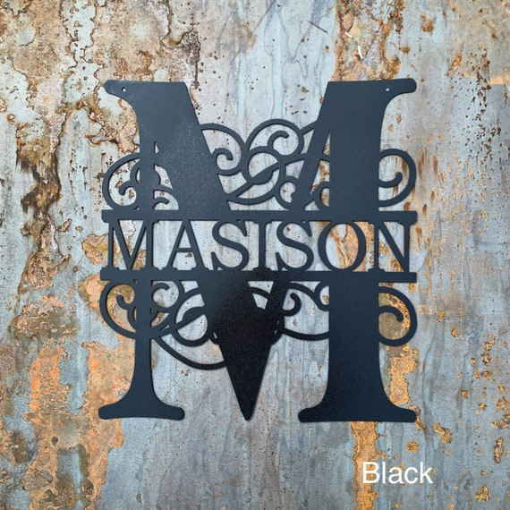 Metal Monogram with Last Name | 11th Wedding Anniversary Gift | Custom Wedding Gift