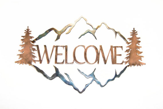 Welcome Sign | Mountain Decor | Rustic Welcome Sign | Housewarming Gift | Metal Welcome Sign | Patina