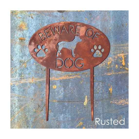 Beware of Dog Yard Sign | Garden Sign with Stakes | Stainless Steel Garden Plaque | Beware of Dogs