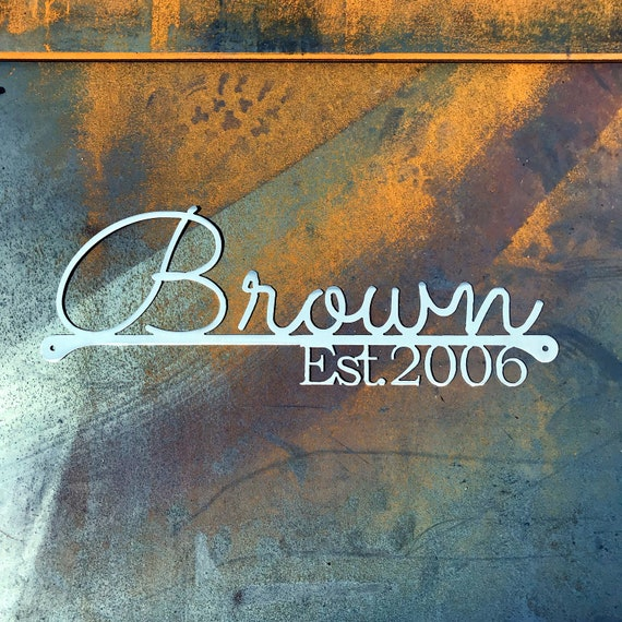 Metal Last Name Established Sign| Custom Family Name Sign | Custom Wedding Gift | 11th Anniversary Gift | Custom Outdoor Sign