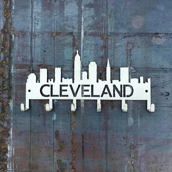 Cleveland Key Hooks | Unique Cleveland Gift | Stainless Steel Key Hooks | Cleveland Skyline