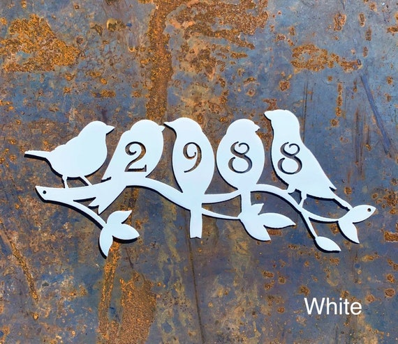 Metal House Number | Perched Birds Address Sign | Metal Birds Home Address Sign | Custom Address Sign