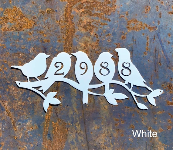 Perched Birds Address Sign | Metal Birds Home Address Sign | Custom Address Sign | Metal House Number