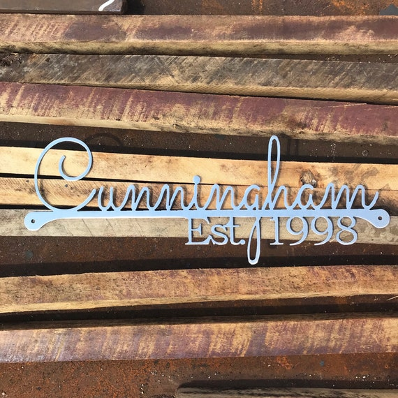 Custom Name Sign with Established Date | Custom Wedding Gift | Metal Family Name Sign | 11th Anniversary Gift | Housewarming Gift