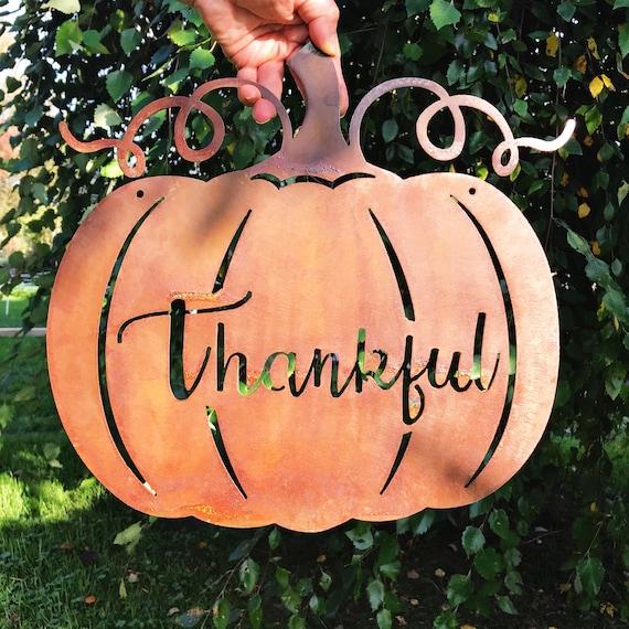 Thankful Pumpkin Sign | Pumpkin Decor | Farmhouse Fall Decor | Thankful Sign | Thanksgiving Hostess Gift | Metal Pumpkin | Rustic Fall Decor