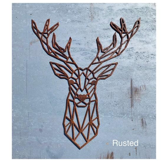 Geometric Deer Metal Wall Art | Geometric Animals | Modern Deer Head | Deer Wall Hanging | Rustic Nursery Decor |