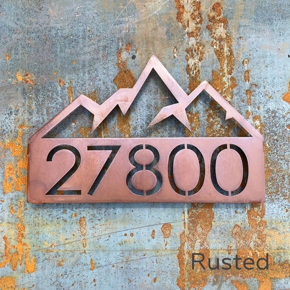 Mountain Address Sign | Geometric Mountain | Stainless Address Sign | Modern Address Plaque | Metal Address Sign | Log Cabin Sign