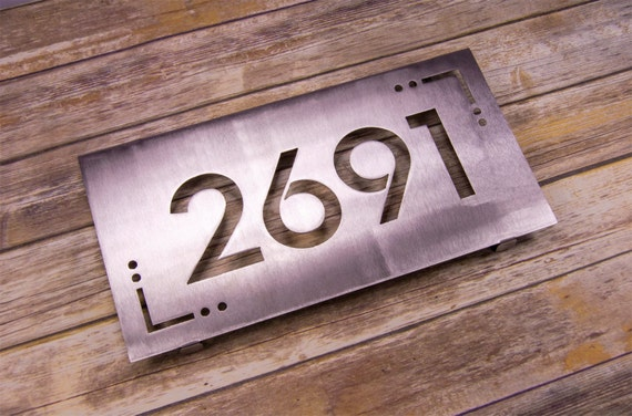 Modern Stainless Steel Address Sign