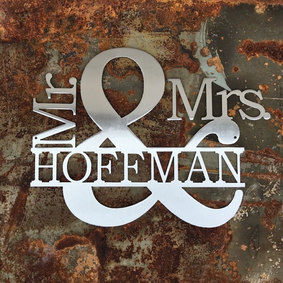 Personalized Mr. & Mrs. Sign with Last Name| Custom Metal Name Sign | Custom Wedding Gift | 11th Anniversary Gift