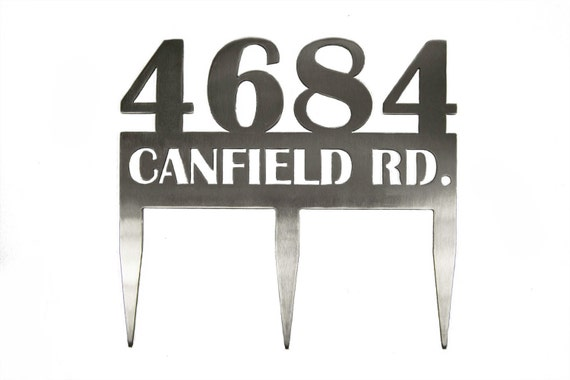 Address Sign with Stakes | Stainless Steel | Custom Address Sign | Address Sign for Yard
