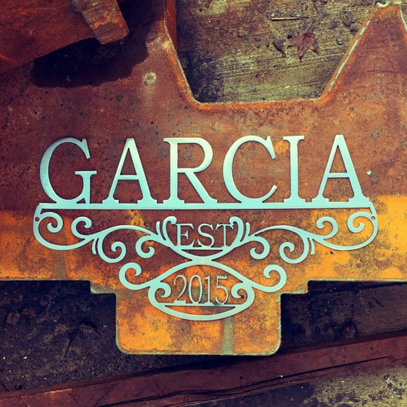 Custom Metal Name Sign with Established Date | 11th Anniversary Gift | Rustic Wedding Gift | Unique Christmas Gift