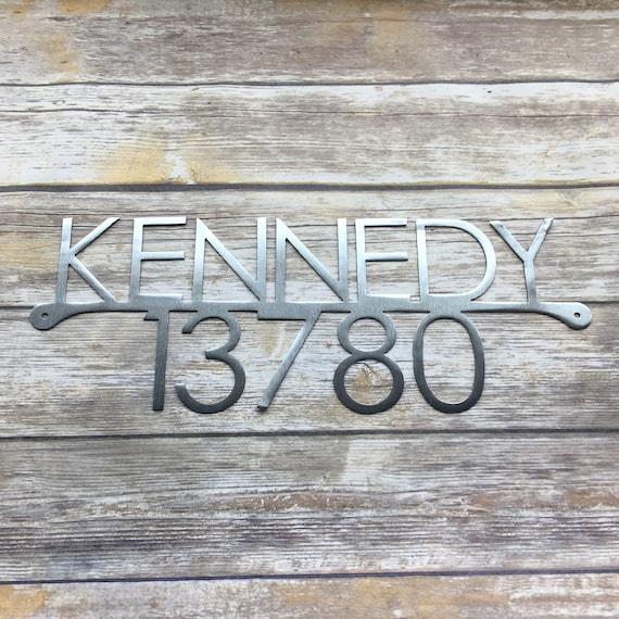Modern Address with Last Name | Custom Metal Address Sign