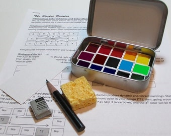 MINI WATERCOLOR PALETTE kit with artist-grade paints in full color spectrum ~ compact ~ portable ~ travel sketch box ~ altoids-style tin