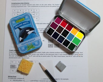 Mini ORCA WHALE Watercolor Palette in collectible mint tin ~ artist-grade paints ~ full color wheel ~ compact ~ portable ~ travel sketch kit
