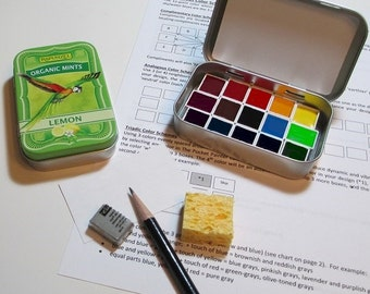 Mini PARROT WATERCOLOR Palette in collectible mint tin ~ artist-grade paints ~ full color wheel ~ compact ~ portable ~ travel sketch kit