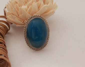 Blue Onyx ring set in Sterling silver