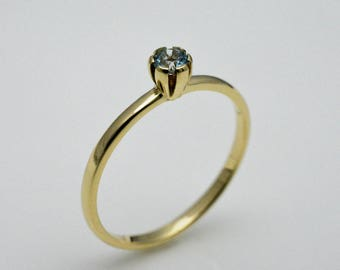 Ring gold with aquamarine, 14k gold