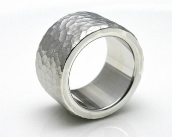 BANDRING/structure ring made of 925 silver, 12 mm wide