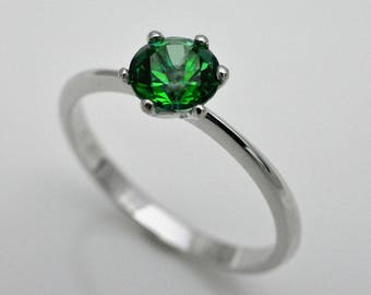 Engagement ring with Topaz green, 925 silver