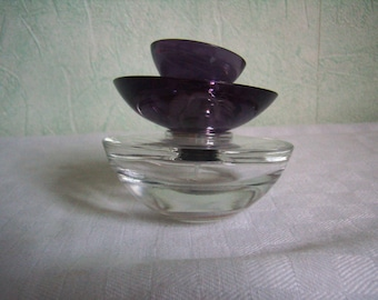 french Vintage, round bottle, spray, Guerlain Insolence and empty perfume bottle