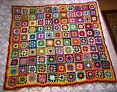 On Order, patchwork blanket, Afghan crochet squares, multicolored Granny plaid, patchwork, handmade shawl, 110x120 cm 47x43 quot