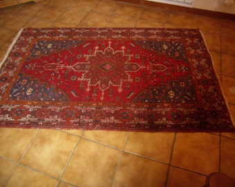 Rouge et bleu, Tapis vintage, Authentique Tapis d Orient, Perse, Zindjan,  tapis hamadan, kilim, laine noué main, antique vers 1930 667dbe08f39