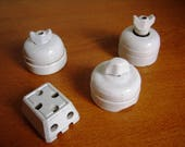 French porcelain switch and socket, Vintage light switch, rustic, triple socket, retro porcelain light
