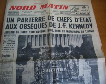 Old french newspaper, November 26, 1963, death of John Fitzgerald Kenndy, original journal