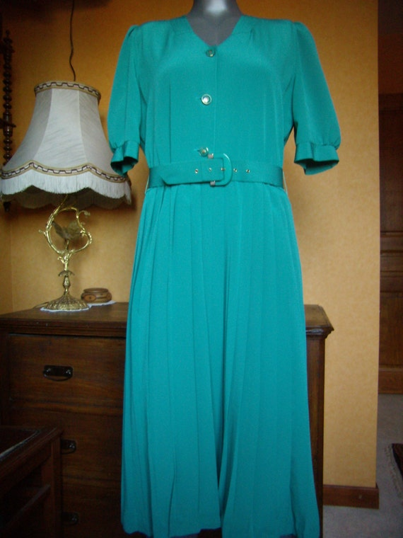 Turquoise, pleated, spring, dress women's dress, F
