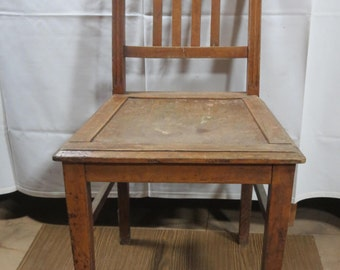 Set of 2 wooden chairs, square, solid oak french Vintage 1940s