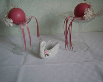 2 glass Champagne foot twisted, Champagne, wedding decor Bowl, candle holder