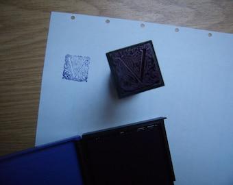 Stamp/square stamp, Monogram Initial, Letter V, Vintage, monogram block