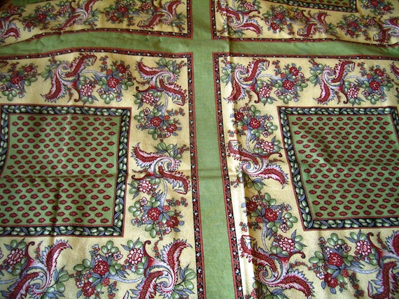 provencal tablecloth provence cotton fabric green red etsy rh etsy com French Parisian Decor French Provincial Home Decor