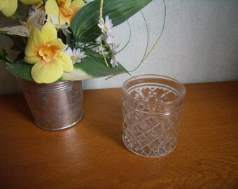 Vintage 60s checkered depression glass, whiskey glass, cocktail, punch