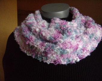snood scarf circular white-grey-pink, cowl, scarf, infinity, is handmade