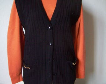 black vest without sleeves, Womens Vest, size S/M, french Vintage.