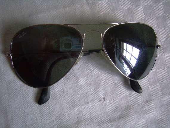 RayBan aviators sunglasses, silver, green glass, m