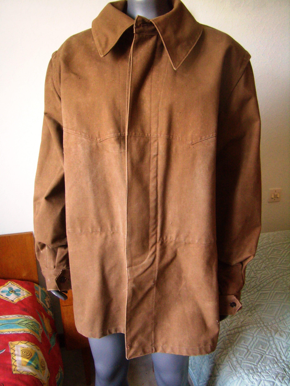 années 1960, français veste travail imperméable brun,veste train, conducteur de train, brun,veste  taille L/XL e93379
