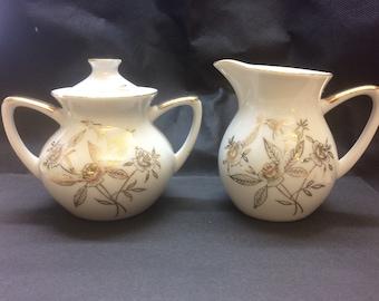 Vintage Creamer and Sugar Bowl w/lid Made in Japan Gold Gilding Flower Pattern