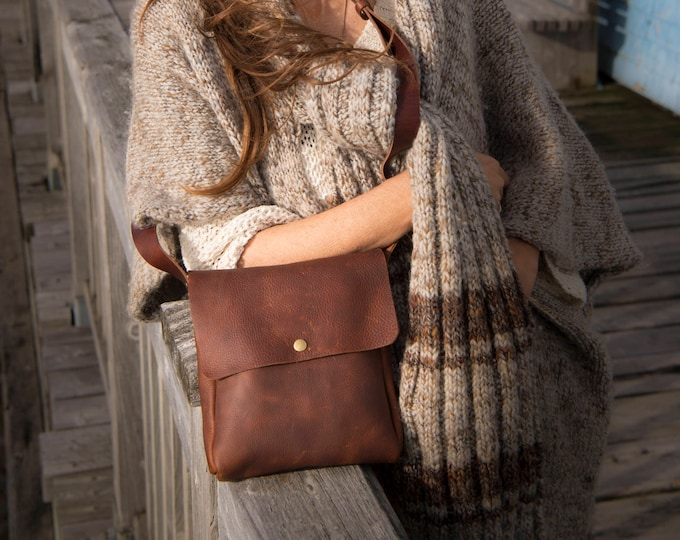 Featured listing image: Small Crossbody | Brown Kodiak Leather