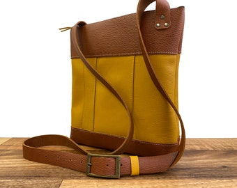 Large Panelled Crossbody - Yellow and Orange Leather