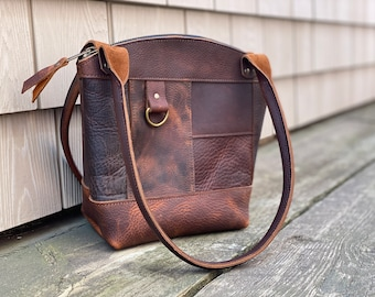 Curved Top Zippered Tote   Kodiak Leather