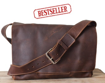 Large Heavy Duty Messenger - Dark Brown Kodiak Leather