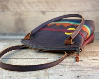 Mountain Scene Curved Top Zippered Tote   Kodiak Leather