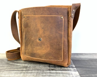 Small Crossbody with Front Pocket - Crazy Horse Water Buffalo Leather