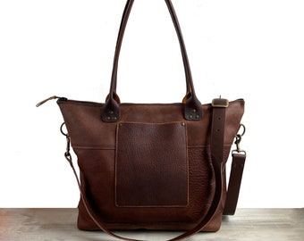 Heavy Duty Large Zippered Tote - Brown Kodiak Leather
