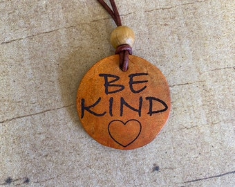 Be Kind   Leather Pendant Necklace with Leather Cord   Magnetic Clasp