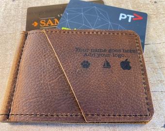 Personalized Money Clip   Caramel Kodiak Leather
