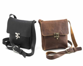 Small Crossbody with Swing Clasp - Caramel or Black Kodiak Leather
