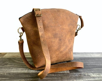 Curved Top Crossbody - Crazy Horse Water Buffalo Leather